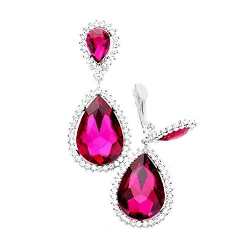 Schmuckanthony Hoernel - Pendientes largos de clip de cristal transparente rosa fucsia, 6,5 cm de largo
