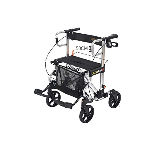 Shopping Bags Walker Small Cart Old Cart Grocery Shopping Cart Wheelchair Pushable Can Sit Elderly Folding Walker Four-wheel Shopping Cart/Scooter Load Give the Best Gift for the Elderly Shopping (bla