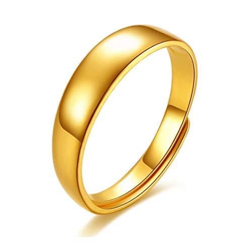 ZOSUO Anillo de Bodas de Oro Amarillo 24k Unisex Forma de D Pesado Pulido De Cumpleaños De Navidad Genuino para Todos los Hombres y Mujeres