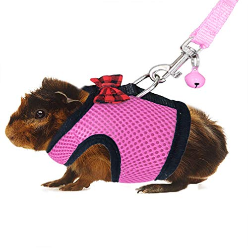 RYPET Ferret Harness and Leash - Soft Mesh Small Pet Harness with Safe Bell, No Pull Comfort Padded Vest for Guinea Pig, Hamster, Rats and Similar Small Animals