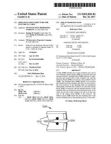 Edge insulation structure for electrical cable: United States Patent 9852828 (English Edition)