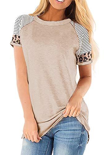Odosalii Damen Pullover Rundhals Oberteil Damen Langarmshirts Sweatshirt T-Shirt Elegante Leoparden Splice TunikaTops (S-Khaki, M)
