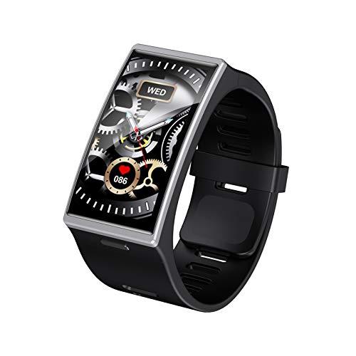 XUEXIU Reloj Inteligente Hombres IP68 Impermeable Deporte Ritmo Cardíaco Presión Arterial Android iOS PK W26 (Color : Slver)