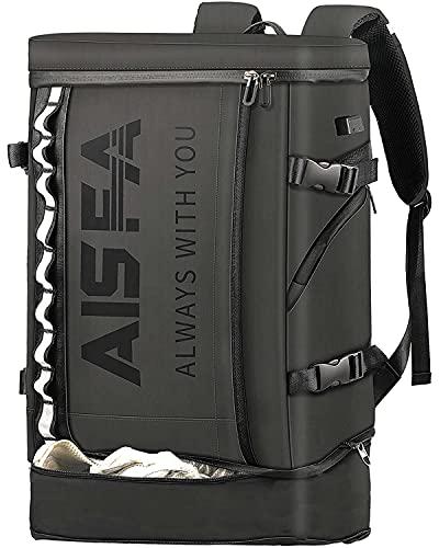 AISFAリュック メンズ リュックサック スクエア バックパック 31L防水17インチ PC ビジネス ラップトップバック USB充電ポート付き アウトドア山登 旅行 (ブラック)