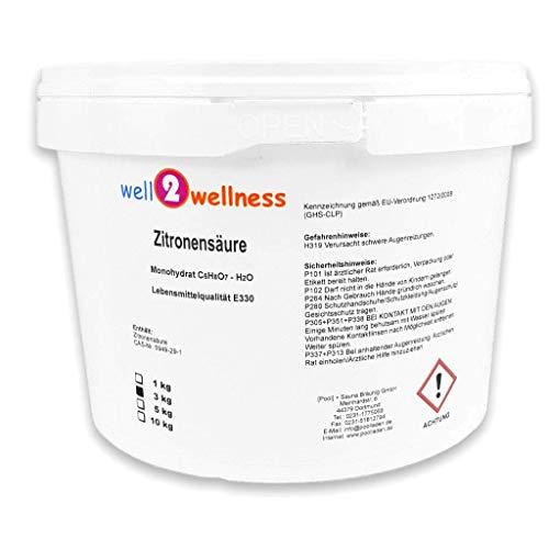 well2wellness Zitronensäure Pulver Monohydrat E330 Lebensmittelqualität 3,0 kg