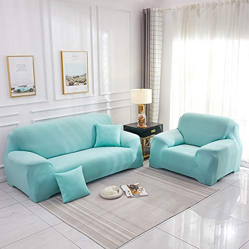 NOBCE Elastic Sofa Cover Set Cotton Universal Sofa Covers for Living Room Pets Armchair Corner Couch Cover Corner Sofa Sky Blue 190-230CM