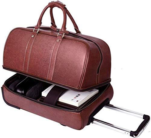 Leathario Reisetasche aus Rindsleder - Weekender XL - Koffer mit Rollen Handgepäck Trolly Weinrot