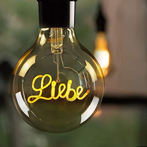 LED Edison Glühbirne GBLY Retro Kugel Glühlampe 4W Liebe Dekorative Antike Globelampen Warmweiß LED Filament Birne Ideal für Nostalgie und Retro Beleuchtung im Haus Café Bar Restaurant, Nicht Dimmbar