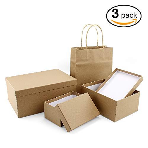 VEESUN Cajas de regalo grandes para regalos, 3 juegos de cajas de presentación de cartón con tapas, cumpleaños de navidad Cajas de regalo para mujeres hombres, Kraft