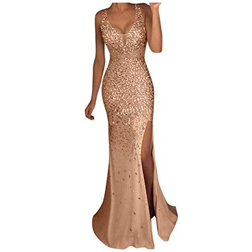 Lazzboy Cocktailkleider Damen Hochzeitskleid Frauen Festliches Kleid Pailletten Prom Party Ballkleid Gold Abend Brautjungfer V-Ausschnitt Lang...