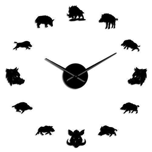 HHKLSF Wildschweinfiguren Wandkunst Spiegelaufkleber DIY Riesenwanduhr Wildschwein Große Hängende Uhr Wanduhr Geschenke, Schwarz, 37 Zoll