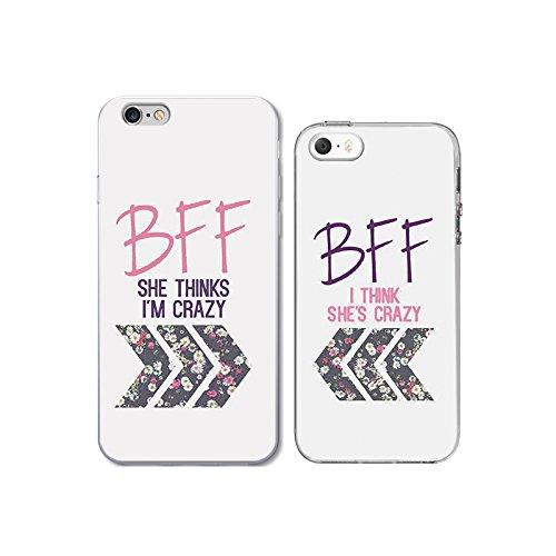 iPhone 6/6S 5S/SE Couple Case for Best Friend-TTOTT Floral Crazy ...