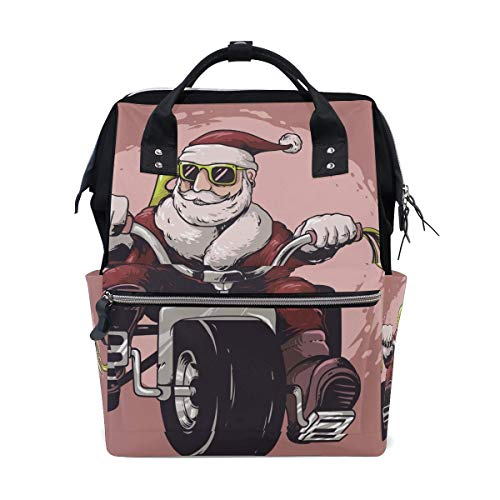 Cool Motorcycle Santa Claus Diaper Bag Mom Dad Travel Backpack Multifunction Waterproof Canvas Large Capacity Baby Bag Maternity Nappy Bags For Baby Care