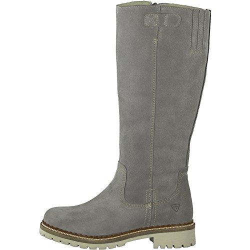 Tamaris Damen Stiefel 26671-21,Frauen Boots,Langschaftstiefel,gefüttert,Reißverschluss,Blockabsatz 2.5cm,Grey,EU 40