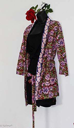 Kalima Kimono Rosen Sommer, Handdruck in 2 Längen