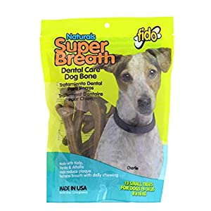 Fido Super Breath Dental Care Bones for Dogs, Made with Kelp, Parsley and Chlorophyll – Naturally Freshens Breath, Reduces Plaque and Whitens Teeth – 13 Small Treats Per Pack
