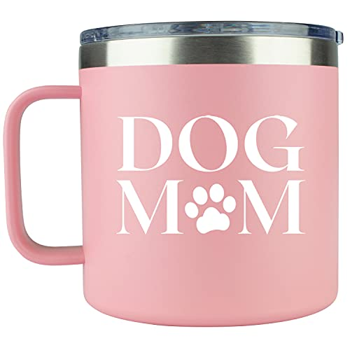 Dog Mom Travel Coffee Mug – 14oz Pink Stainless Steel Coffee Tumbler Cute Idea for Dog Lovers, Best Moms, Birthday, Rescue, Mama, Doggy, Gifts