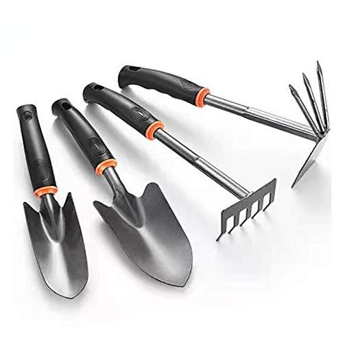 BLAUE Garden Tools Set, 4 Pcs Heavy Duty Gardening Kit Includes Hand Trowel, Transplant Trowel, Hoe and Hand Rake, with Comfort Rubberized Non-Slip Ergonomic Handle, Garden Tools Gifts for Men Women