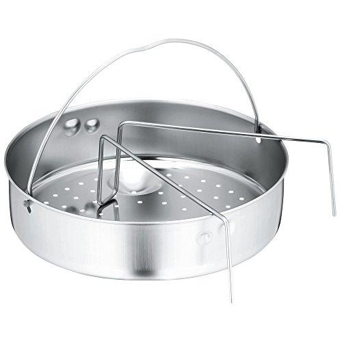 WMF Schnellkochtopf-Zubehör Set 2-teilig, Einsatz gelocht mit Einsatzsteg, für Schnellkochtöpfe 3,0 - 8,5l, Cromargan Edelstahl, spülmaschinengeeignet