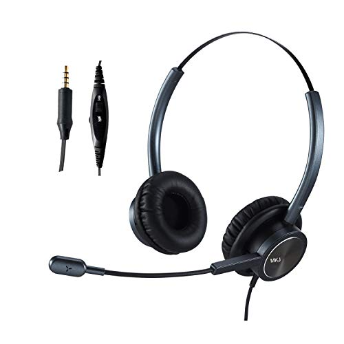 MKJ Corded 3.5mm Headset with Microphone for Laptop Wired Cell Phone Headset with Mute Button Noise Cancelling Compatible with Computer iPhone Huawei Xiaomi Samsung ZTE BlackBerry etc Smartphones