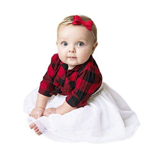 Ensembles de Bébé, LMMVP 2Pcs Bébé Tout-Petit Ensembles de Filles Chemise à Carreaux + Jupe Tutu Vêtements pour Bébés (Rouge, 80(6-12M))