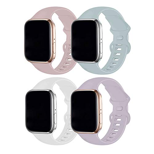 RUOQINI 4 Pack Compatible with Apple Watch Band 38mm 40mm,Sport Silicone Soft Replacement Band Compatible for Apple Watch Series SE/6/5/4/3/2/1 [S/M Size -Turquoise/PinkSand/SoftWhite/Lavender]
