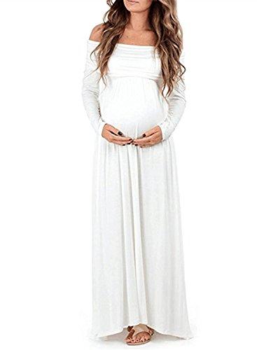 BEDAMAM Premamá Vestido de Manga Larga Maxi Falda Plisada con Encaje Flores para Mujer Casual Maternidad Vestido Fotografía Sexy Vestido de Embarazo Blanco S