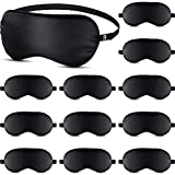 12 Packs Silk Sleep Mask Eye Mask for Women and Men Soft Silk Sleeping Eye Blindfold with Elastic Strap for Night's Sleep, Travel and Nap