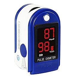 Concord Basics Blue Fingertip Pulse Oximeter Blood Oxygen Saturation Monitor with Carrying Case, Batteries, Silicone…
