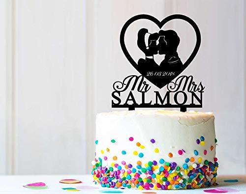 Decoración rústica para tarta con diseño personalizado de Cenicienta y Su Príncipe, para bodas y fiestas de cumpleaños, C0184K