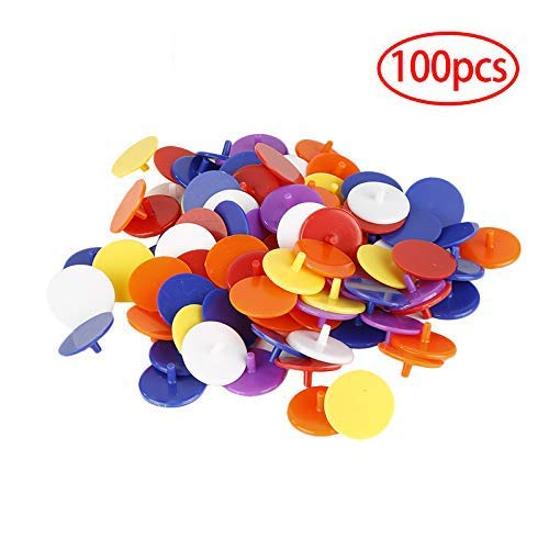 100 Pack Golf Ball Position Marker, 24mm Plastic Flat Round Golf Ball Marker for Golf Mark Accessories (Random Color)