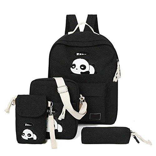 Leinwand Schulrucksack Set Causal Segeltuch schulranzen Panda Freizeitrucksack Daypacks Backpack für teenager Mädchen Jungen & Kinder 4 Teile Set
