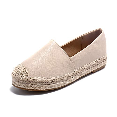 Alexis Leroy Women's Closed Toe Slip On Casual Espadrilles Loafer Flat Comfort Shoes Beige 8-8.5 M US