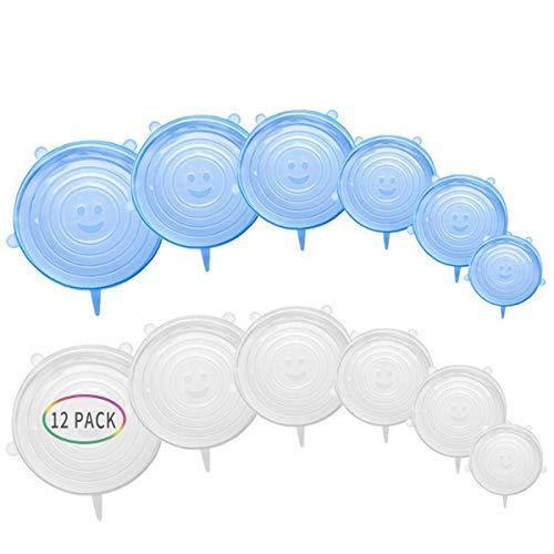 Couvercles en silicone, lot de 12 couvercles alimentaires en silicone, réutilisable, couvercle extensible, sans BPA et extensible pour s'adapter à différentes formes de récipients.