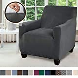 Gorilla Grip Original Fitted Velvet 1 Piece Chair Protector for Seat Width up to 23 Inch, Stretchy Furniture Slipcover, Fastener Straps, Spandex Chair Cover Throw for Pets, Dogs, Armchair, Dark Gray
