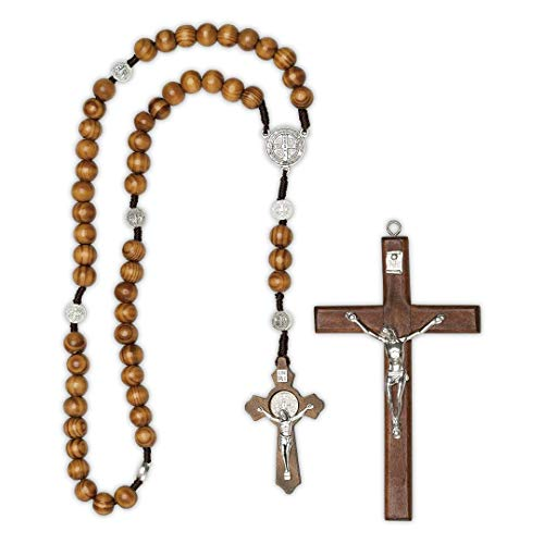 Soulnioi handmade wooden rosary beads catholic cross necklace ,and presented a 4.6' soul crucifix,with st. benedict medal |Perfect Catholic Gifts,with velvet bag