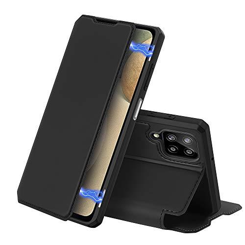 DUX DUCIS Hülle für Samsung Galaxy A12 / M12, Premium Leder Magnet Flip Schutzhülle Handyhülle für Samsung Galaxy A12 / M12 Tasche (Schwarz)