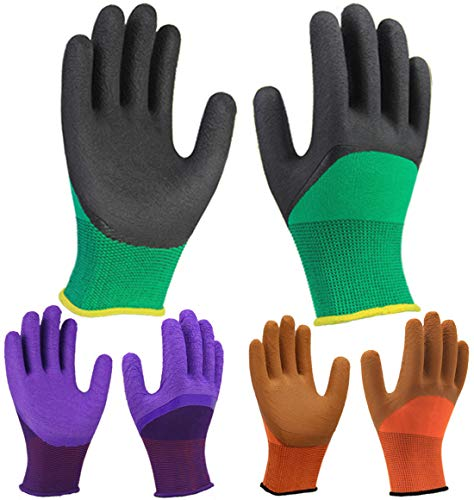 3 Pairs Superior Grip Colorful Garden Work Gloves, Breathable Comfortable for Multi-Purpose