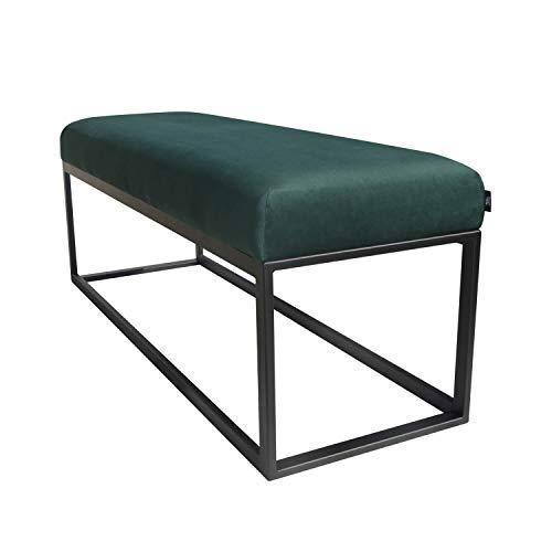 Damiware Couchy Sitzhocker Sitzbank | Esszimmer, Küche, Wohnzimmer | Samt Stoffbezug und Metallbeine, 121 x 39 x 44,5 cm (Samt Grün)