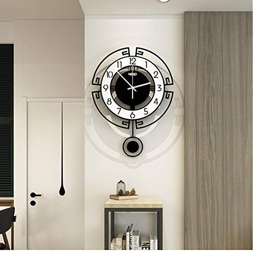 AXEF Swing Acrylic Quartz Silent Round Wall Clock Modern Design 3D Digital Pendulum Watch Clocks Living Room Home Decor 35x47cm