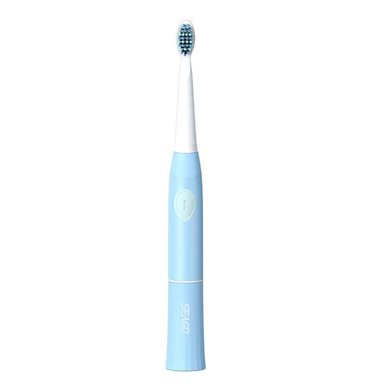 防水電動歯ブラシ充電式電子歯ブラシソニックヘッド大人タイマー歯ブラシ、ブルー