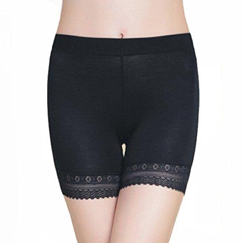 Damen Unterwäsche Slip Unterhosen Sicherheits Shorts Unterwäsche Kurz Leggings Panties Softe Spitze Hipster Pantys, Schwarz,