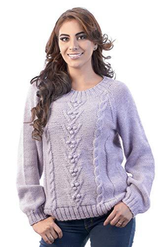 INTI ALPACA Handgestrickter Pullover für Damen aus Alpaka Wolle - Gestrickter Pullover mip Zopmuster - Winterpullover - Dicker Pullover - Violett Lavendel (Large)