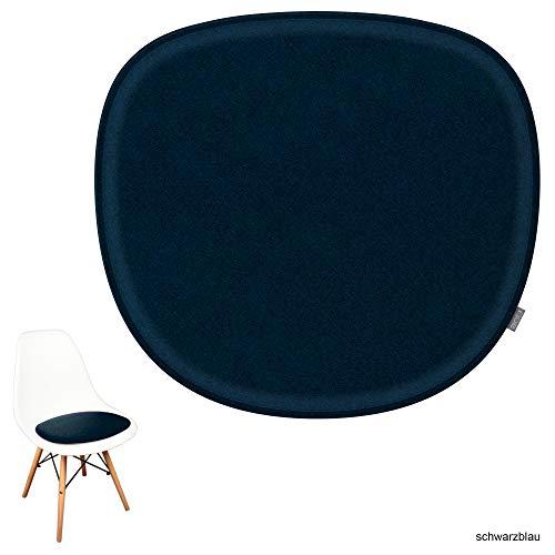 noe Eco Filz Sitzkissen geeignet für Vitra Eames Sidechair DSW,DSR,DSX,DSS - 29 Farben - optional gepolstert und mit Antirutsch! (Schwarzblau)