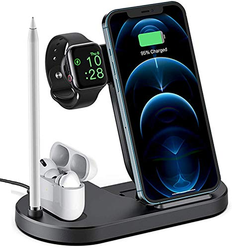 Gymqian 4 en 1 Mesita de Noche Carga Rápida para Iphone 12/11 / Pro Max/Xr/Xs Max/Xs/X / 8 / 8P, Cargador Inalámbrico Plegable de Viaje para Amp de Watch; Airpods Amp; Esta