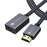iVANKY Cavo Prolunga HDMI (2m), HDMI Maschio Femmina, HDMI 2.0 ad alta velocità, Supporta 4K, 1080p, 3D, ARC per PS4, PS3, Xbox 360, HDTV - Nylon Intrecciato