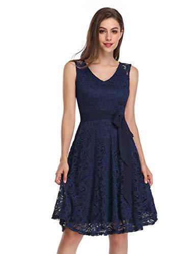 KOJOOIN Damen Kleid Brautjungfernkleid Knielang Spitzenkleid Ärmellos Cocktailkleid Dunkelblau Navyblau L