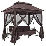 vidaXL Pavillon Umwandelbare Schaukelbank Gartenschaukel mit Bettfunktion Hollywoodschaukel Hängeschaukel Gartenmöbel Liege Kaffeebraun