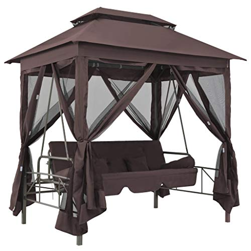 Keenso Patio Gazebo, Outdoor Double Roof Gazebo Canopy Tent Garden Gazebos with Swing Chair Sun Shade Shelter for Patios Yard Garden or Outdoor Coffee