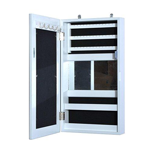 Homcom Armadio Portagioie Con Specchio Specchiera Da Parete In Legno MDF E1 31 X 56 X 8.5Cm, Bianco